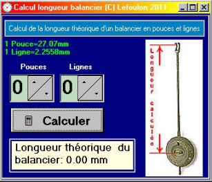 Calcul balancier mouvement de Paris